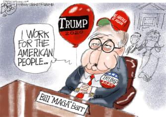 Political Cartoon U.S. Barr Trump congressional testimony