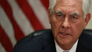 Secretary of State Rex Tillerson speaks to reporters