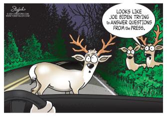 Political Cartoon U.S. biden press deer headlights