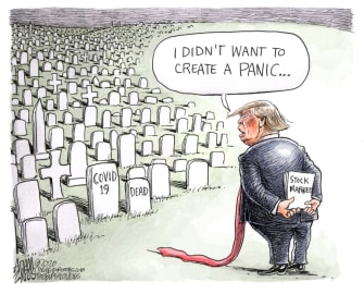 Political Cartoon U.S. Trump COVID stock market