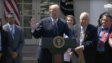 Donald Trump gives remarks.