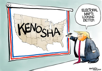 Political Cartoon U.S. Trump Kenosha electoral map 2020