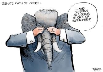 Political Cartoon U.S. GOP Senate Oath Of Office Impeachment Juror