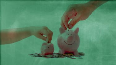 Kid and parent saving money.