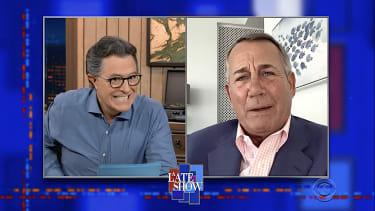 Stephen Colbert and John Boehner