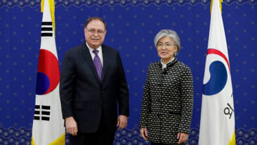 Timothy Betts, acting Deputy Assistant Secretary and Senior Advisor for Security Negotiations and Agreements in the US Department of State, stands with South Korean Foreign Minister Kang Kyun