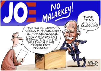 Political Cartoon U.S. Joe Biden 2020 Young Voters Whipper Snappers