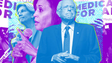 Kamala Harris, Bernie Sanders, and Elizabeth Warren.