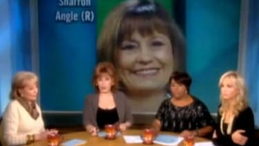 """Joy Behar compares Sharron Angle's latest campaign ad to """"a Hitler youth commercial"""" during a discussion on 'The View.'"""