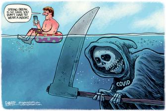 Political Cartoon U.S. spring break covid