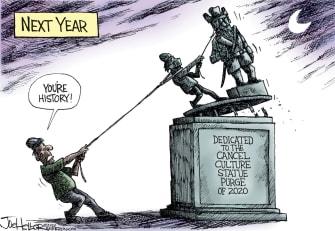 Editorial Cartoon U.S. cancel culture statues