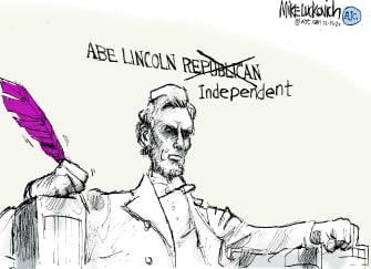 Political Cartoon U.S. Lincoln Republican independent