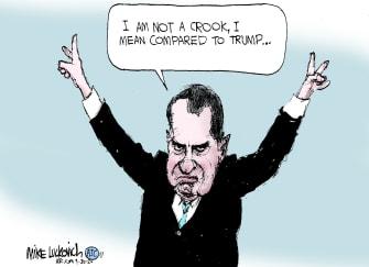Political Cartoon U.S. Trump Nixon taxes