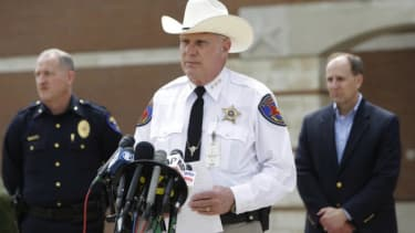 Kaufman County Sheriff David Byrnes speaks at a news conference on March 30, after the McLellands were found dead in their home.