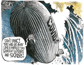 Political Cartoon U.S. Trump COVID panic Hindenburg