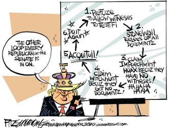 Political Cartoon U.S. Trump impeachment GOP loop
