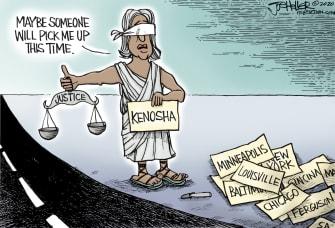 Editorial Cartoon U.S. Kenosha police shooting Jacob Blake