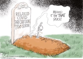 Editorial Cartoon U.S. relaxing covid precautions too soon