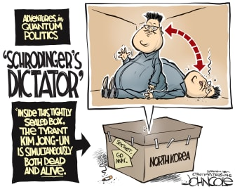 Political Cartoon World Schroedingers Cat dictator Kim Jong-un North Korea death