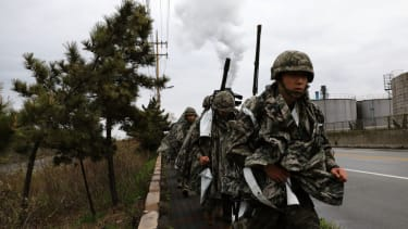 South Korean marines take part in a military exercise with the U.S. on April 5, 2018 in Pohang, South Korea.