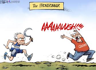 Political Cartoon U.S. Sanders centrists socialism frontrunner