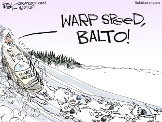Editorial Cartoon U.S. COVID vaccine Operation Warp Speed