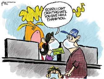 Political Cartoon U.S. praise Trump stimulus check coronavirus banker