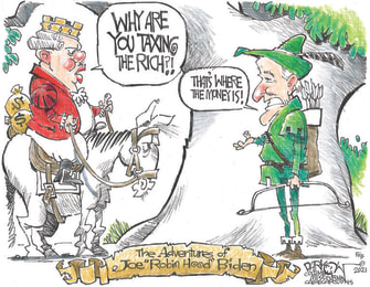 Political Cartoon U.S. biden robin hood taxes rich