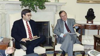William Barr and George H.W. Bush.