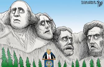 Political Cartoon U.S. Trump Mt. Rushmore