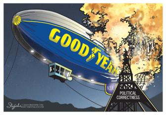 Political Cartoon U.S. Goodyear political correctness Hindenburg