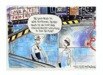 Editorial Cartoon U.S. coronavirus reopening factory workers