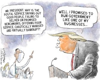 Political Cartoons U.S. Trump USPS businesses