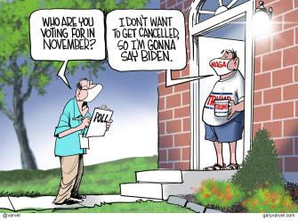 Political Cartoon U.S. Biden Trump 2020 cancel culture