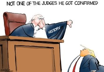 Political Cartoon U.S. Trump judge history