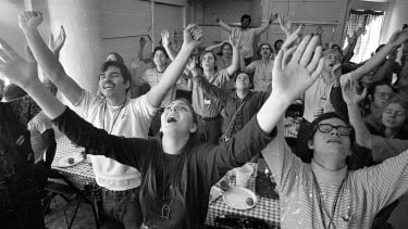 """A Christian group, a part of California's """"Jesus Movement,"""" sings, 1971."""