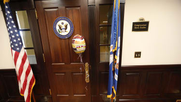 A balloon tied to the door of Rep. Steve Scalise's office.