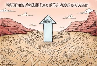 Editorial Cartoon U.S. stock market monolith