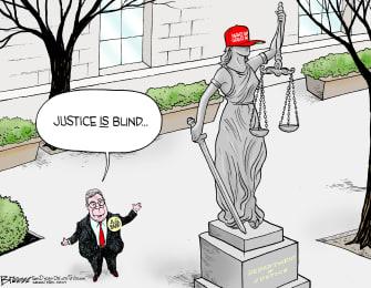 Political Cartoon U.S. William Barr Lady Justice Is Blind MAGA Hat