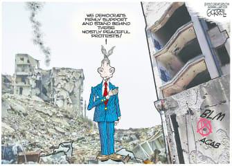 Political Cartoon U.S. Democrats protests