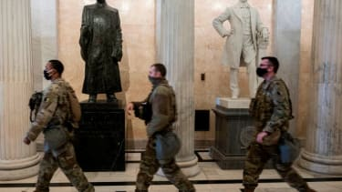 Members of the National Guard in the Capitol.
