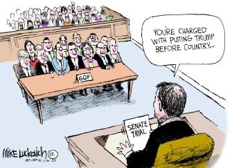Political Cartoon U.S. Trump impeachment senate GOP