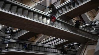 Escalators.