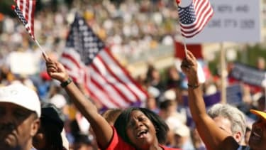 """Did the """"One Nation"""" march on the National Mall bridge the Democrats' enthusiasm gap?"""