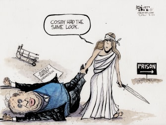 Editorial Cartoon U.S. Weinstein Lady Justice prison COSBY times up MeToo Movement
