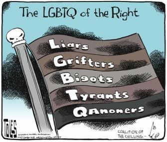 Political Cartoon U.S. Right wing LGBTQ