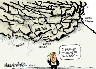 Political Cartoon U.S. Trump 2020 election delay