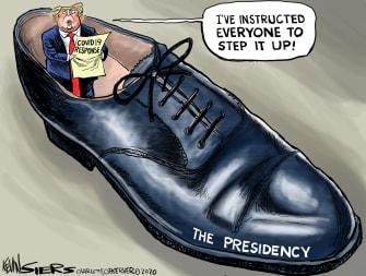 Political Cartoon U.S. Trump Coronavirus COVID-19 response big steps shoe