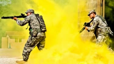 U.S. soldiers train in a street scene: An MIT invention brings the army a step closer to being able to see through concrete walls.