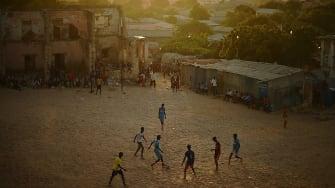 Somalians play soccer in Mogadishu.